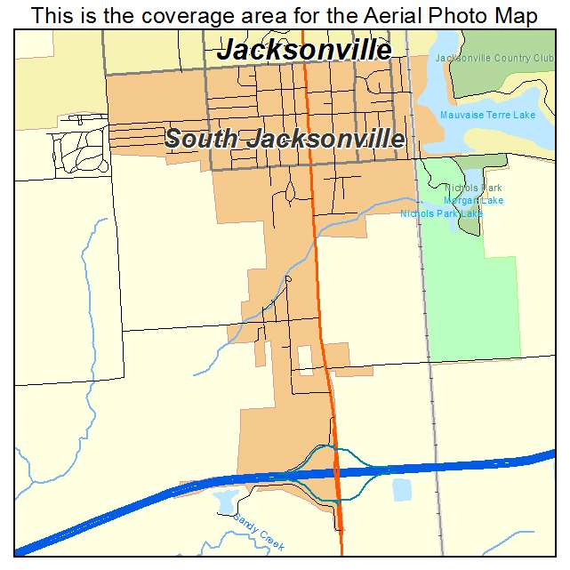aerial photography map of south jacksonville il illinois. Black Bedroom Furniture Sets. Home Design Ideas