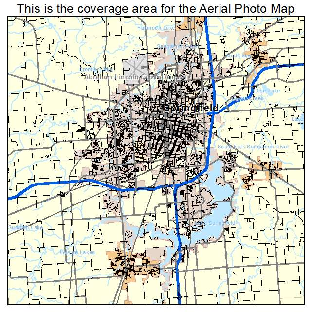 Aerial Photography Map Of Springfield IL Illinois