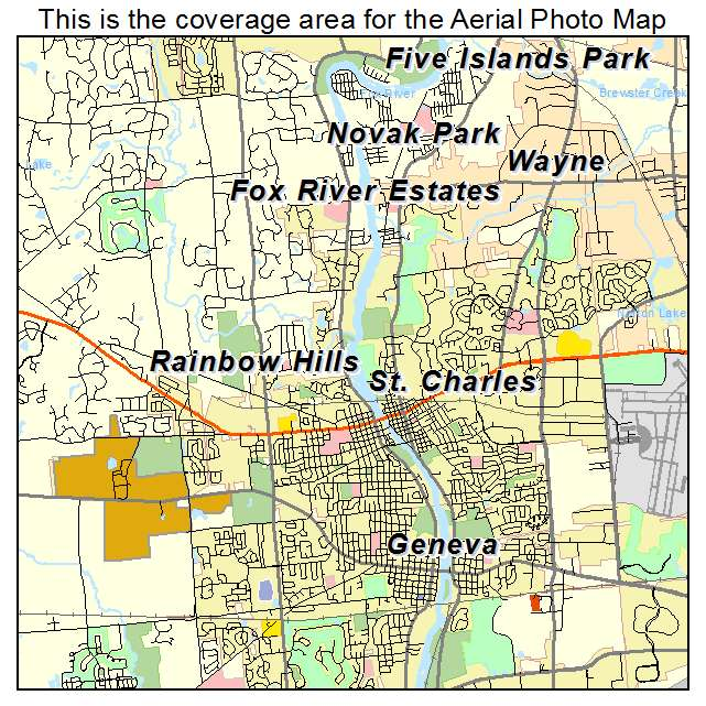 Aerial Photography Map of St Charles, IL Illinois