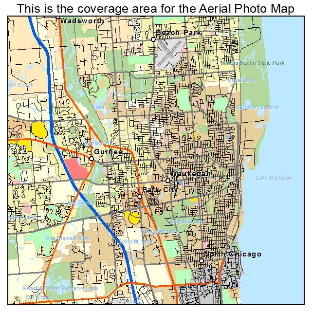 Aerial Photography Map of Waukegan IL Illinois
