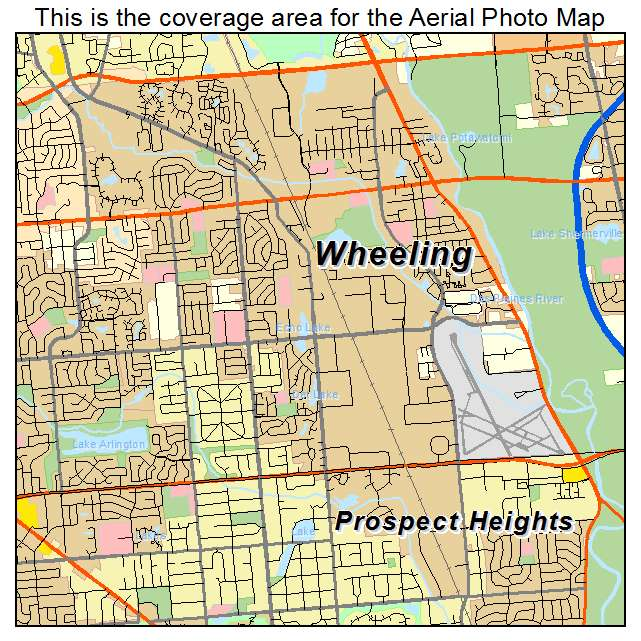 Aerial Photography Map of Wheeling IL Illinois