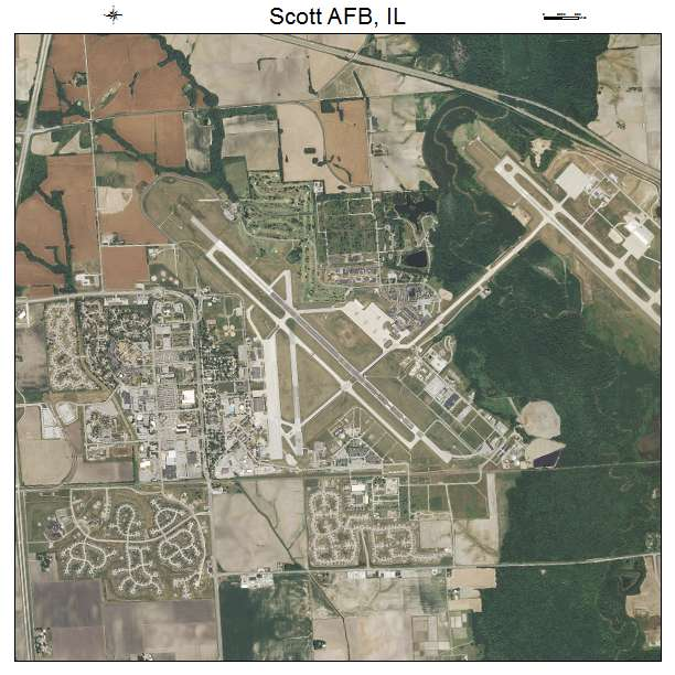 Aerial Photography Map of Scott AFB, IL Illinois