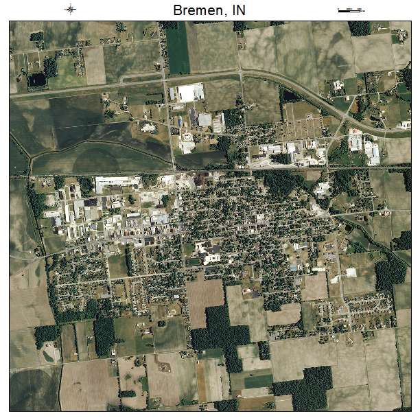 aerial photography map of bremen in indiana. Black Bedroom Furniture Sets. Home Design Ideas