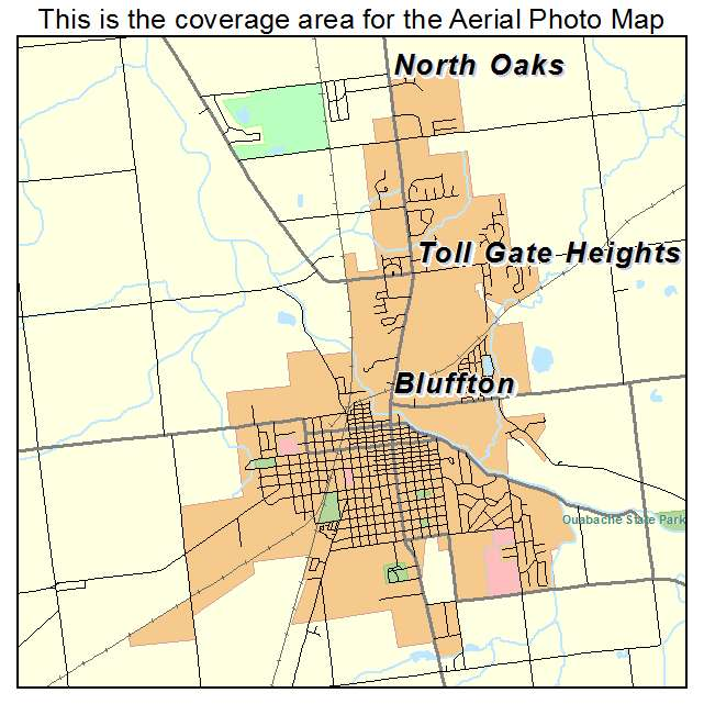Aerial Photography Map Of Bluffton IN Indiana