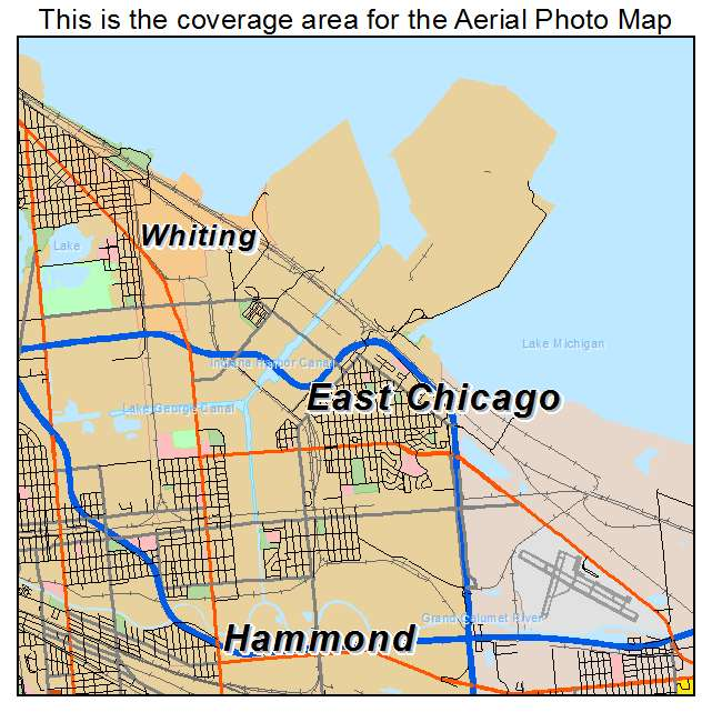 Aerial Photography Map Of East Chicago IN Indiana