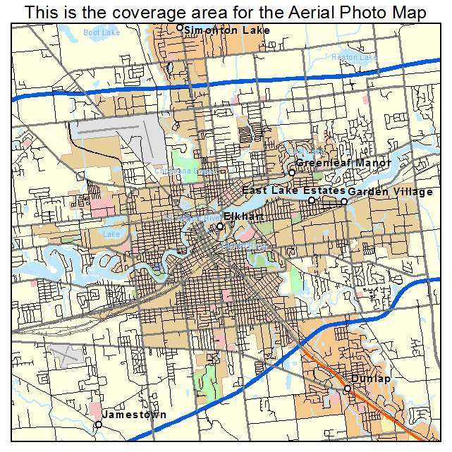 Aerial Photography Map of Elkhart IN Indiana