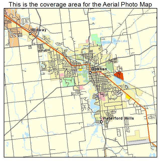 Aerial Photography Map Of Goshen IN Indiana