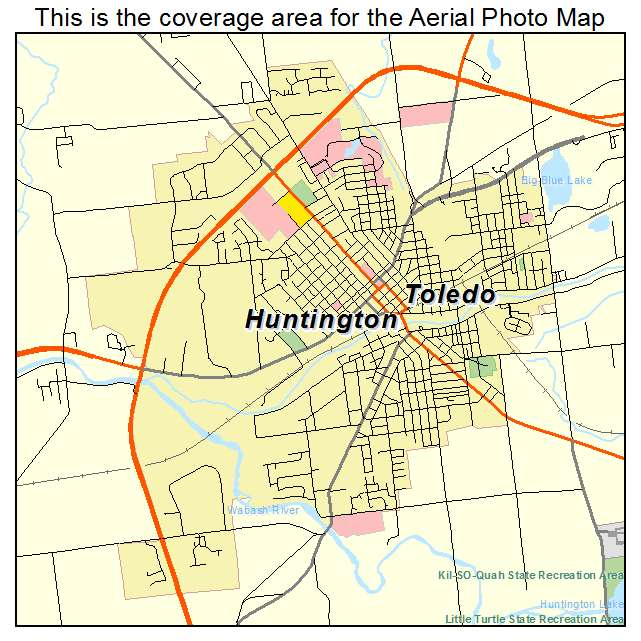 Aerial Photography Map Of Huntington IN Indiana