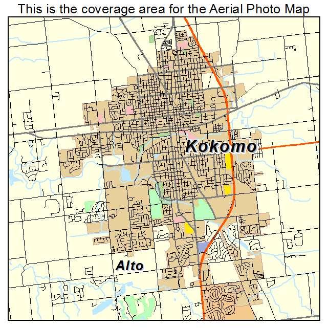 Aerial Photography Map of Kokomo, IN Indiana