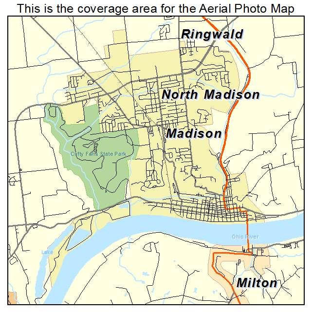 Aerial Photography Map Of Madison IN Indiana