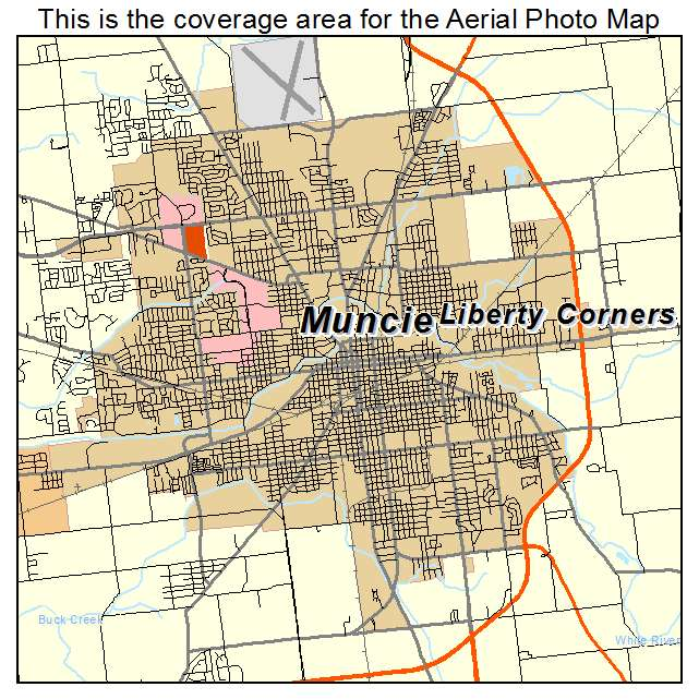 aerial photography map of muncie in indiana