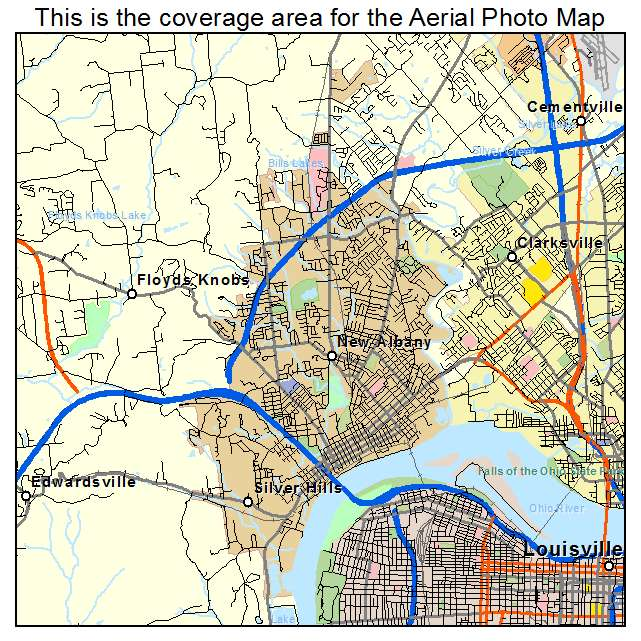 Aerial Photography Map Of New Albany IN Indiana