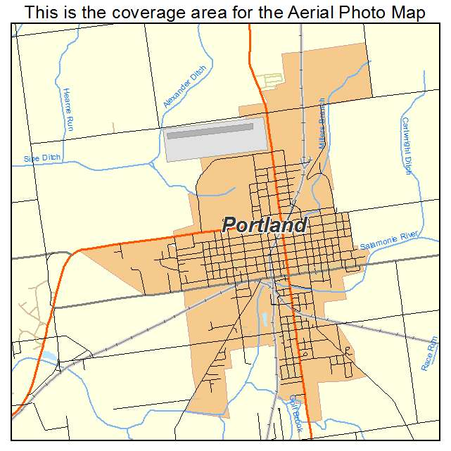 Aerial Photography Map Of Portland In Indiana
