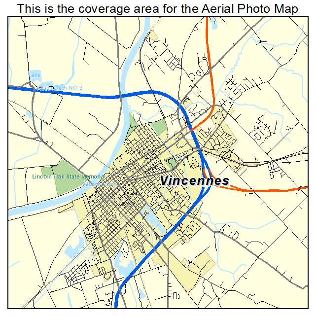 Aerial Photography Map Of Vincennes IN Indiana