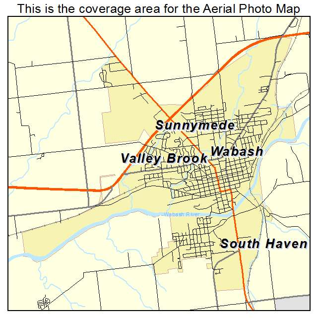 Aerial Photography Map Of Wabash IN Indiana