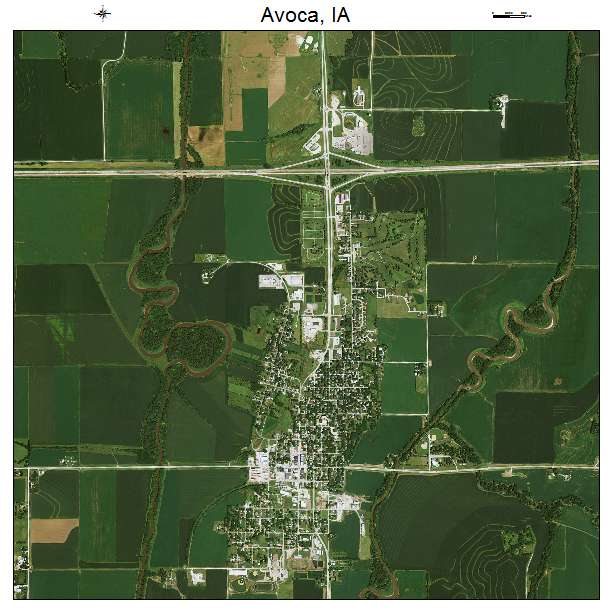 Aerial Photography Map of Avoca, IA Iowa