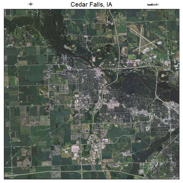 Aerial Photography Map Of Cedar Falls IA Iowa