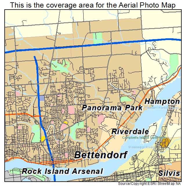 Aerial Photography Map of Bettendorf IA Iowa