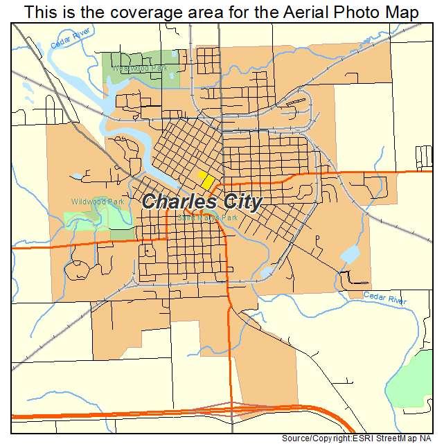 Aerial Photography Map Of Charles City Ia Iowa