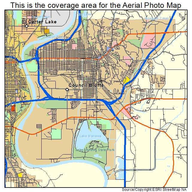Aerial Photography Map Of Council Bluffs IA Iowa