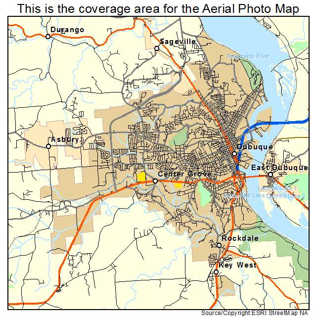 Aerial Photography Map Of Dubuque Ia Iowa