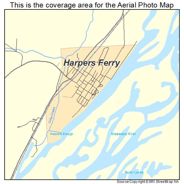 Aerial Photography Map of Harpers Ferry IA Iowa