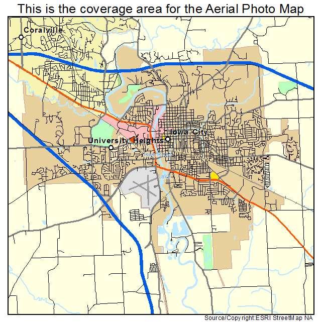 Aerial Photography Map of Iowa City IA Iowa