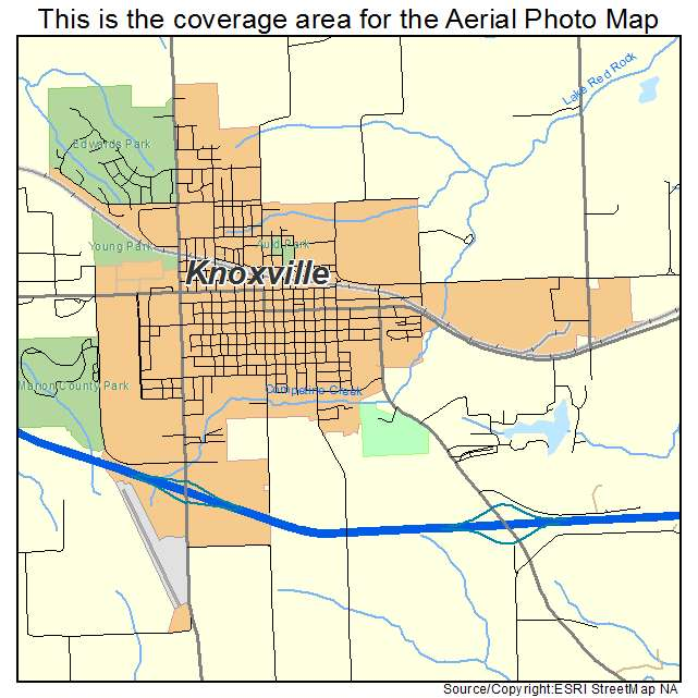 aerial photography map of knoxville ia iowa