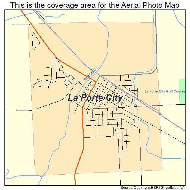 aerial photography map of la porte city ia iowa