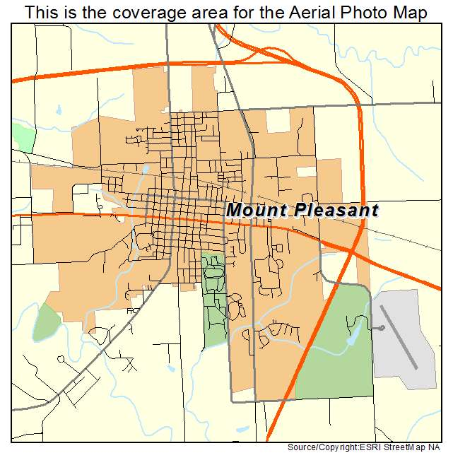 Aerial Photography Map of Mount Pleasant IA Iowa