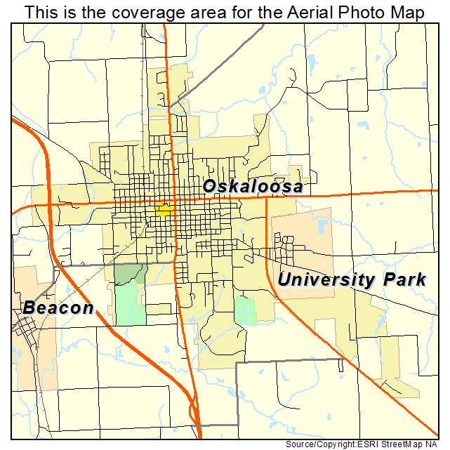 photograph about Printable Map of Iowa identified as Oskaloosa, IA Iowa Aerial Pictures Map 2015