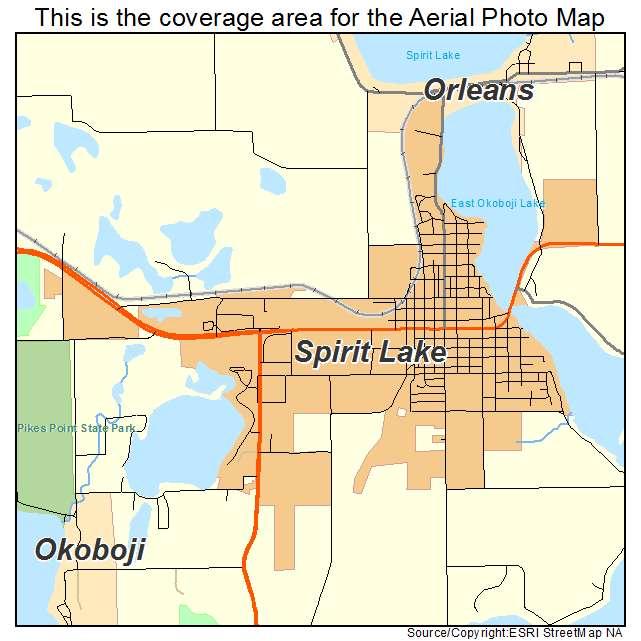 Aerial Photography Map Of Spirit Lake IA Iowa