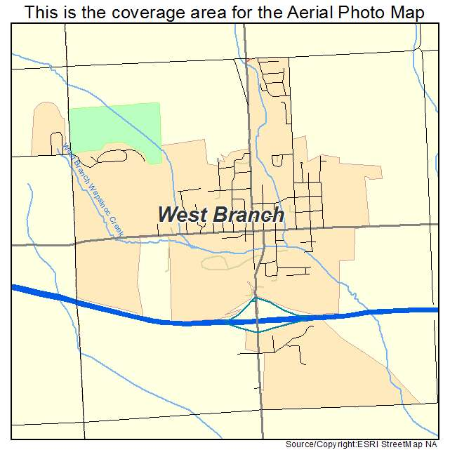 West Branch Iowa Map.Aerial Photography Map Of West Branch Ia Iowa