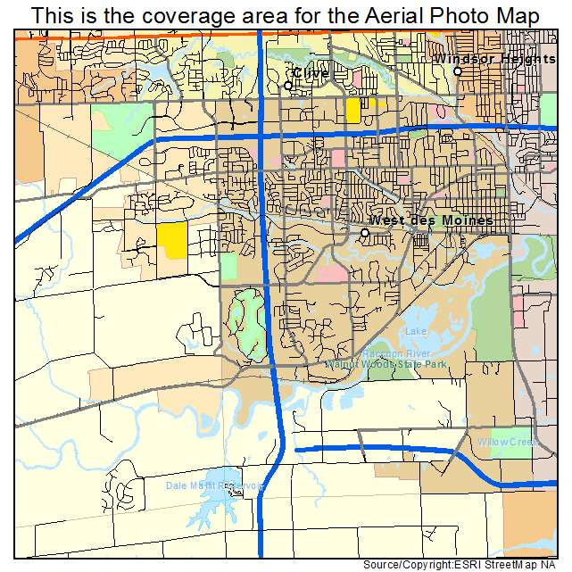 Aerial Photography Map Of West Des Moines IA Iowa