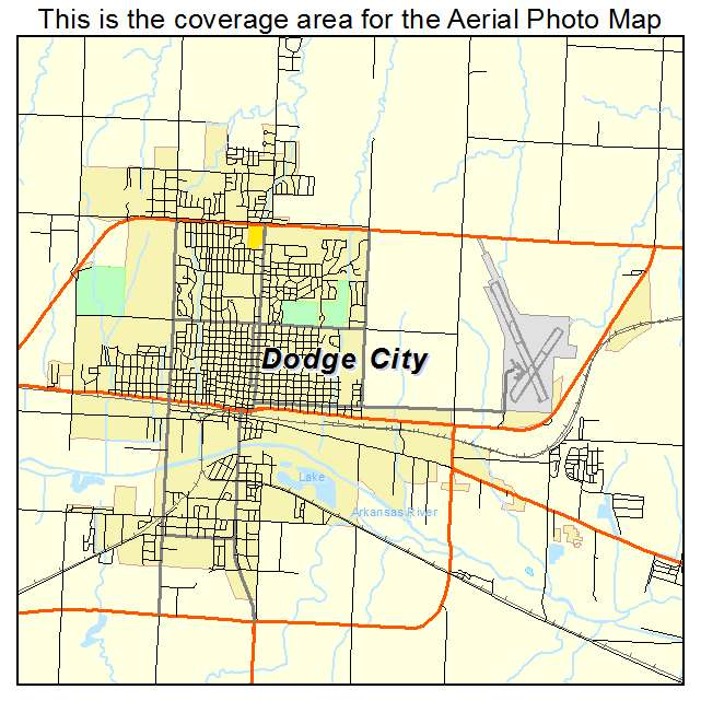 Aerial Photography Map of Dodge City, KS Kansas on