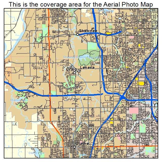 Aerial Photography Map of Lenexa KS Kansas