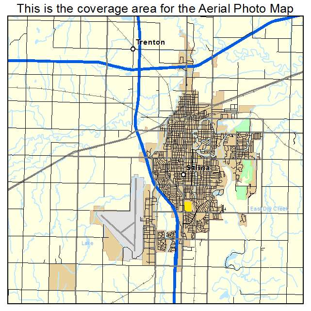 Aerial Photography Map of Salina KS Kansas