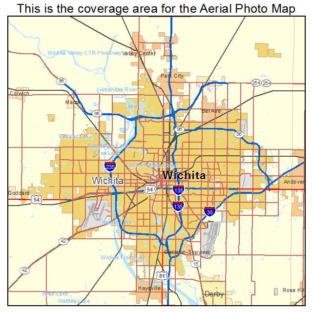 Aerial Photography Map Of Wichita KS Kansas