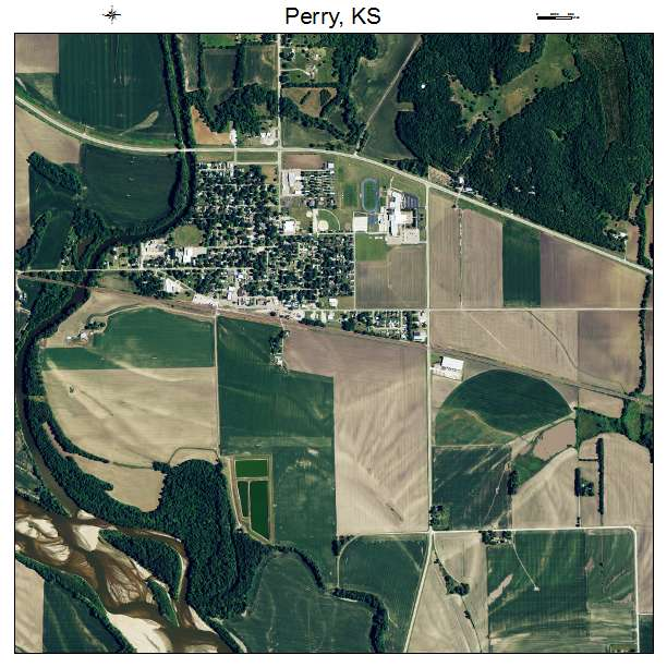 Perry, KS air photo map