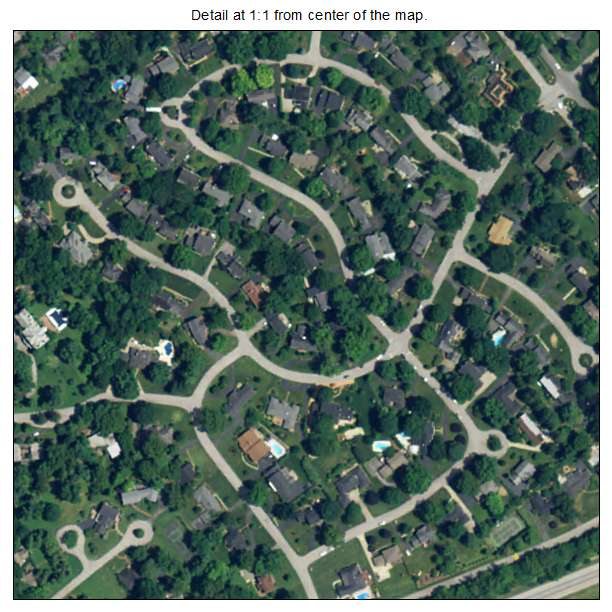 Glenview Hills, Kentucky aerial imagery detail