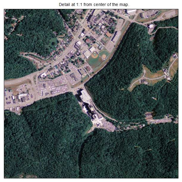 Pikeville, Kentucky aerial imagery detail