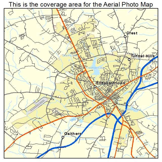 Aerial Photography Map of Elizabethtown KY Kentucky