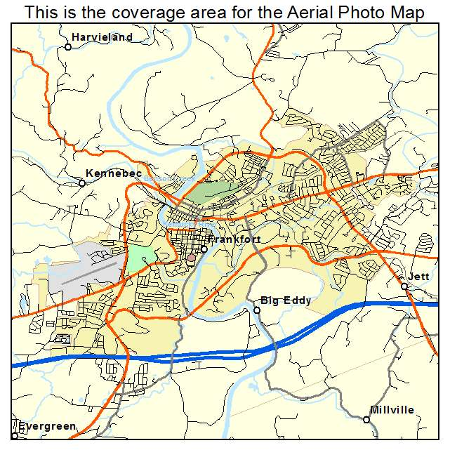 Aerial Photography Map Of Frankfort KY Kentucky