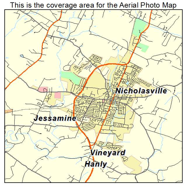 Aerial Photography Map of Nicholasville KY Kentucky