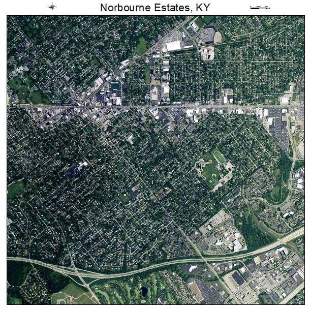 Norbourne Estates, KY air photo map
