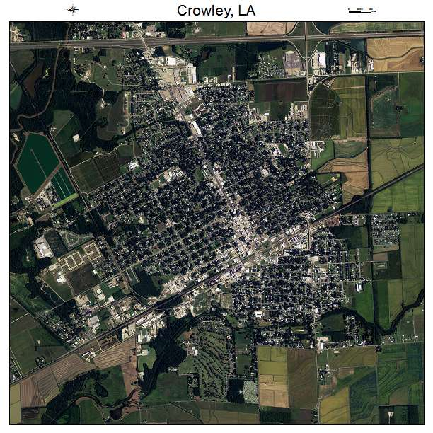 Aerial Photography Map Of Crowley LA Louisiana