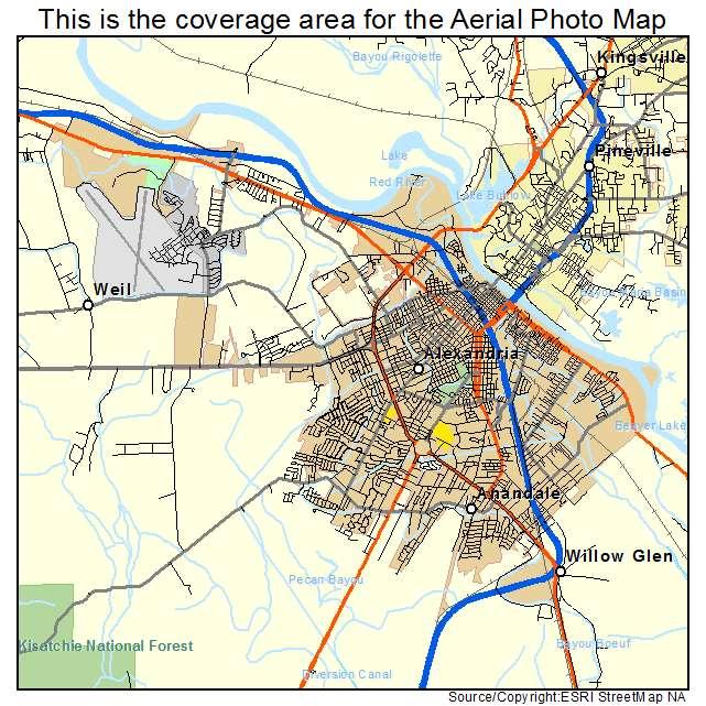 Aerial Photography Map Of Alexandria LA Louisiana - Louisiana map alexandria
