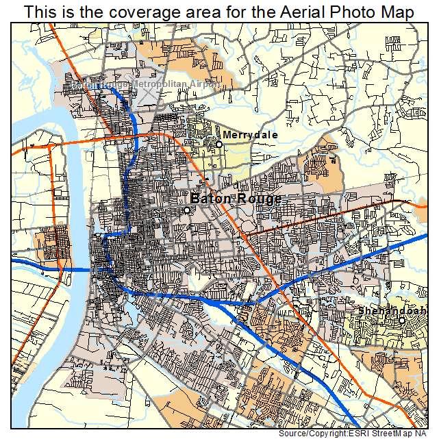 Aerial Photography Map Of Baton Rouge LA Louisiana