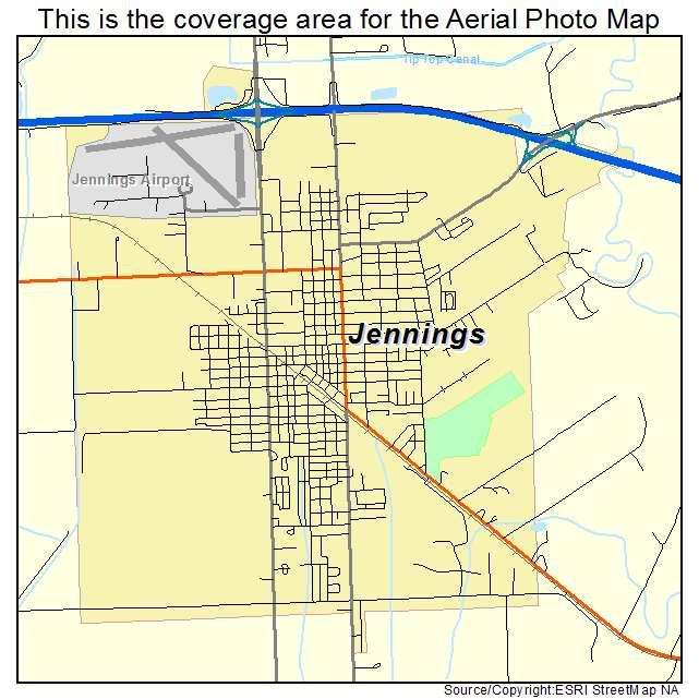 Aerial Photography Map of Jennings LA Louisiana