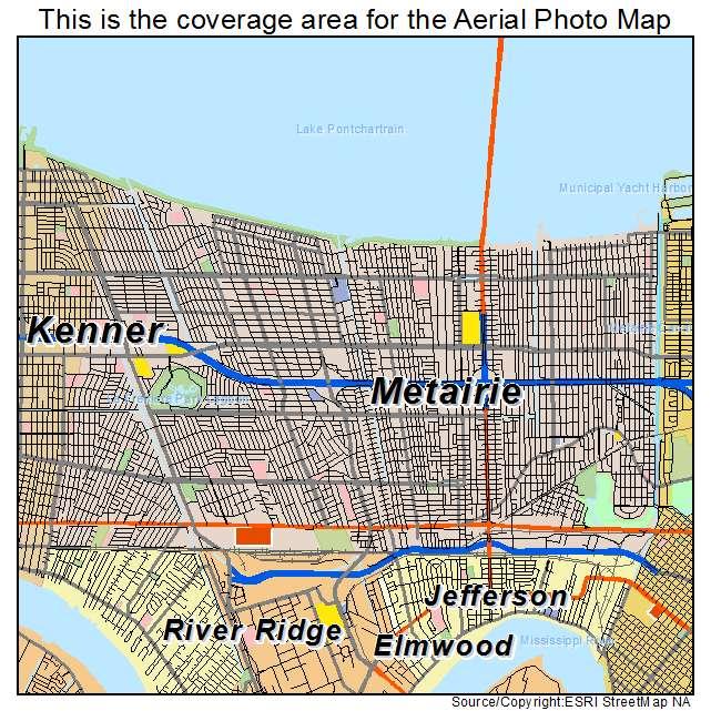 Aerial Photography Map of Metairie LA Louisiana